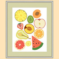 Fruit Party - Kitchen art print with fruit illustration