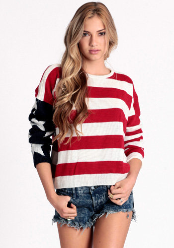 Lizabeth American Flag Sweater by John Galt - $102.00 : ThreadSence.com, Free-spirited fashion for the indie-inspired lifestyle