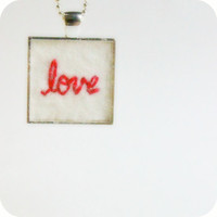 Love Embroidered Necklace red white cotton wool felt silver plated