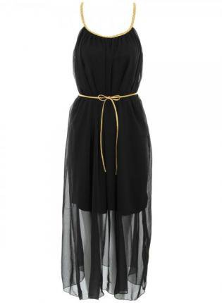 Black Chiffon Maxi Dress with Thin Gold Straps&amp;Belt