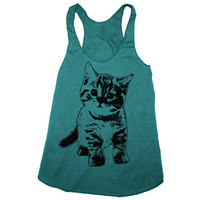 Womens KITTEN american apparel Tri-Blend Racerback Tank Top S M L (Evergreen)