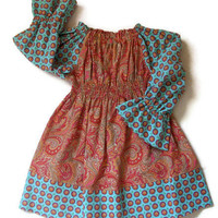 "Peasant Dress Long Sleeved ""Laila"" Paisley size 3T"