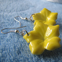 Ceramic Yellow Earrings.Flowers.Cute Art.Chinese Ceramic.