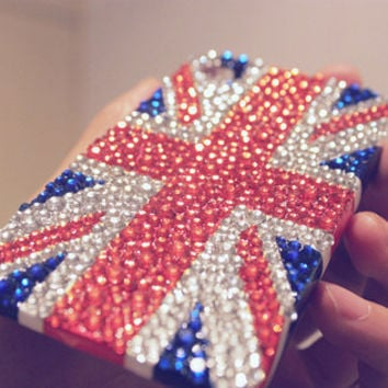 2012 Summer Fashion UK Flag Sticker of iphone4 Case with Bling Rhinestone Deco Den Kits (the case is not included)