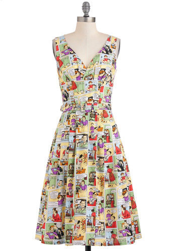 Bygone Days Dress in Comics | Mod Retro Vintage Dresses | ModCloth.com