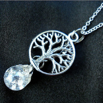Tree of Life Crystal Crackle Fried Marble Necklace