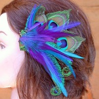 Great Feather Hair Piece Easy to Wear Great Colors by wildspirits