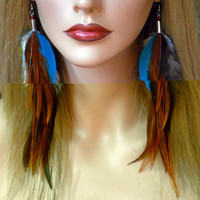 Long Bronze Feather Earrings with Blue Macaw by wildspirits