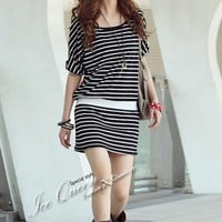 Round Neck Cotton Neck Strips Short Mini Dress @T958 - $9.25 : DressLoves.com.