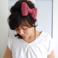 Crochet Bow Hair Band Rose Pink