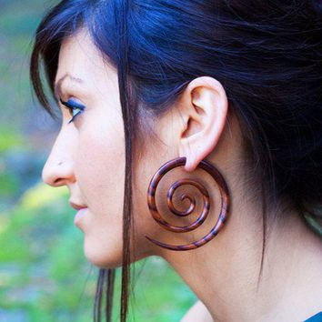 Fake Gauges - XL Double Spirals Brown Wood Earrings