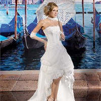Elegant strapless sweep train tulle 2013 lace Beach Wedding Dresses WDB044