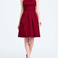 Buy Short Cotton Dress with Y-Neck and Skirt Pleating Style 83690 for $89.17 only in Fashionwithme.com.
