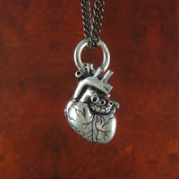 "Small Anatomical Heart Necklace Antique Silver Small Anatomical Heart Pendant on 24"" Gunmetal Chain"