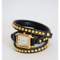 Black Triple Wrap Studed Square Watch