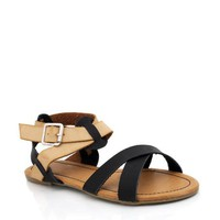 two-tone-sandals BLACK ORANGE RED WHITE - GoJane.com
