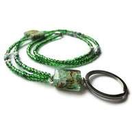 Picasso Green Art Glass Beads Badge ID Lanyard Magnetic Clasp