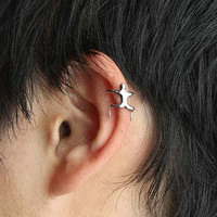 Man Climbing Style Silver Color Clip On Earring Cartilage non Piercing Ear Cuff Cage Punk Fashion