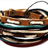 10% OFF Adjustable Bracelet Cuff made of Brown Leather Multicolour Ropes and metal Woven Snapper  889S