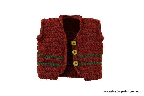 Easy Crochet Baby Vest Pattern : Pattern Crochet vest Sweater Jacket from DewdropsDesign on ...