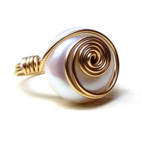 White Freshwater Pearl Ring:  Classic Wedding Jewelry, Brass Swirl Wire Wrapped Ring, Size 7, Custom Size