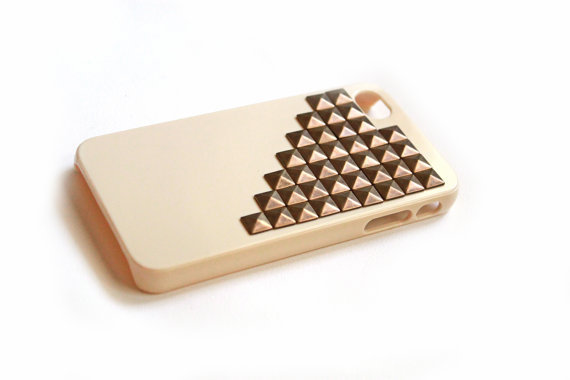 Nude iphone case with bronze studs, Studded cellphone cover, Hard case, iPhone Cover, cover for Android,trendy, iPhone 4s, iPhone 4,