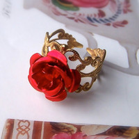 Red Rose Ring, Gold Filigree Base, Aluminium Cabochon Flower, Light, Fashion, Bling, Feminine