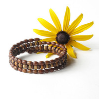 Wood bead bracelet - three stacking wooden bangles in one