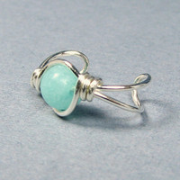 Sterling Silver Ear Cuff  Amazonite or Choice of 56 beads