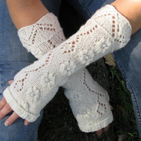 Lace fingerless gloves, knit fingerless gloves, arm warmers or wrist warmers made from Merino Wool