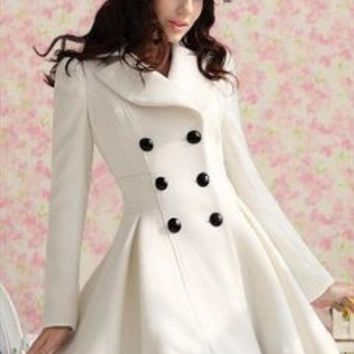 White Cashmere Double Breasted Coat
