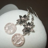 NEW Crackled Blossoms - Pink Crackle Glass and Silver Flower Earrings