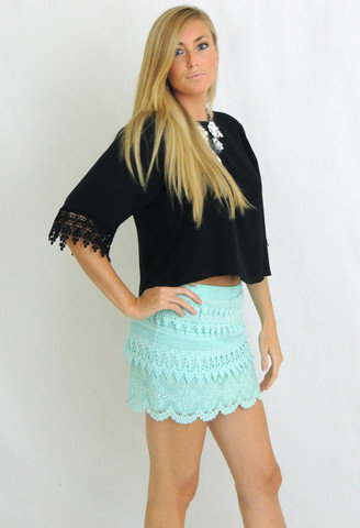 Keepsake Lace Skirt in Mint -  $39.50 | Daily Chic Bottoms | International Shipping