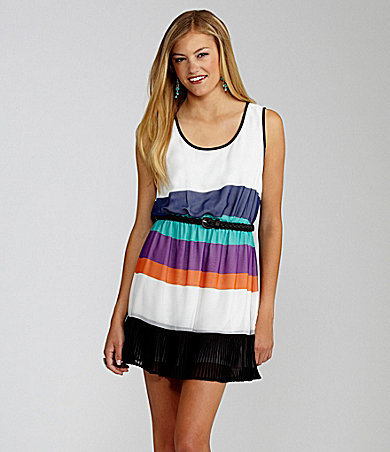 GB Striped Pleated Tank Dress white purple orange turquoise black stripe | Dillards.com