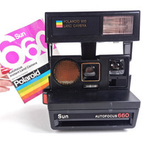 Vintage Polaroid Camera -  Polaroid Sun 660 Autofocus with Original Directions / Iconic Rainbow