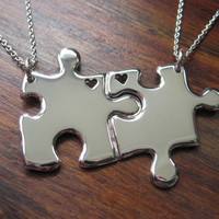 Two Puzzle Heart Pendant Necklaces