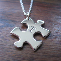 Small Puzzle Initial Necklace Pendant