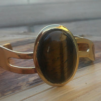 Tiger eye gemstone and gold cuff bracelet