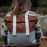 Waxed Canvas Backpack - Weather Resistant - Stripes