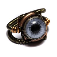 Steampunk Jewelry  RING  BLUE taxidermy glass by CatherinetteRings