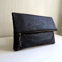 Vegan Clutch, handbag,  fold over clutch,Metallic black linen,minimalist desing, humming bird pendant, Ready To Ship.