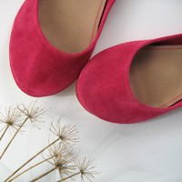 Magenta Soft Leather Handmade Ballet Flats