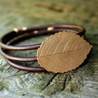 Bronze Leather Bracelet Wrap Festival Jewelry - Eco Friendly Recycled Bronze - Medium Rose Leaf
