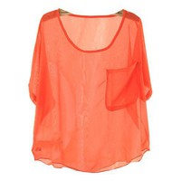 Sheer Neon Chiffon Tees with Patch Pockets