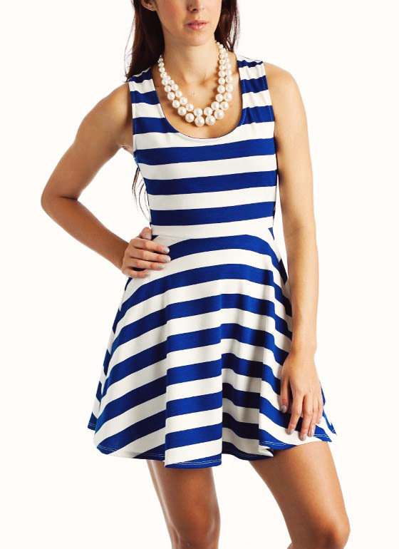 striped-cross-back-dress BLUE RED - GoJane.com