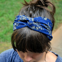 Navy and Grey Floral Turban Headband