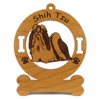3962 Shih Tzu Standing Personalized Wood Ornament