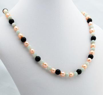 Chalcedony Pearl Onyx Necklace by ExoticTreasuresJewelry on Zibbet