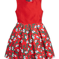 Oscar de la Renta Taffeta Magnolia-Print Party Dress, Red, Girls' 2Y-14Y