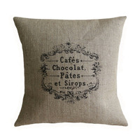 Vintage French Cafes Chocolat Hessian Burlap Pillow Cushion Cover 16""